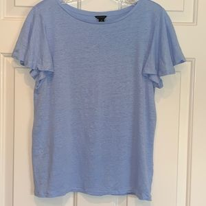 Ann Taylor Linen T with Flutter Sleeves, Size M